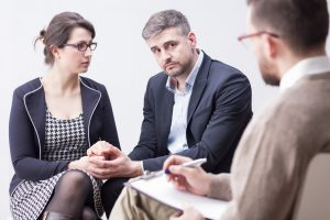 couple in family mediation moment