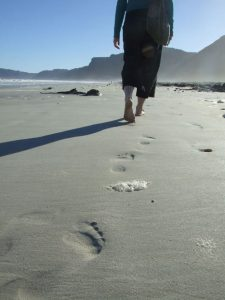 footsteps on beach