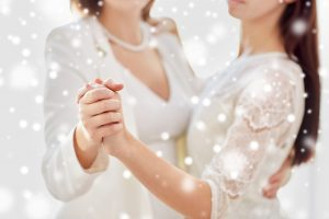 lesbian brides dancing